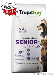 TROPIDOG Premium Senior All Breeds - Turkey & Rice 12kg
