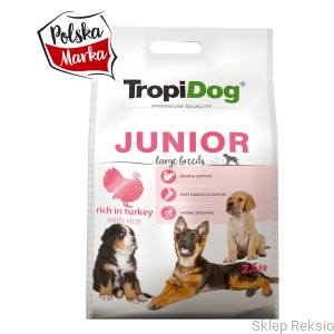 TROPIDOG Premium Junior  Large Breeds - Turkey & Rice 12kg