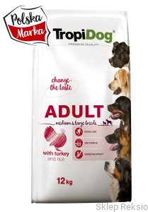 TROPIDOG Premium Adult Medium & Large Breeds - Turkey & Rice 12kg