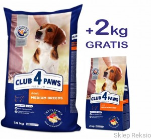 CLUB 4 PAWS PREMIUM Adult Medium Breeds 14kg + 2kg GRATIS